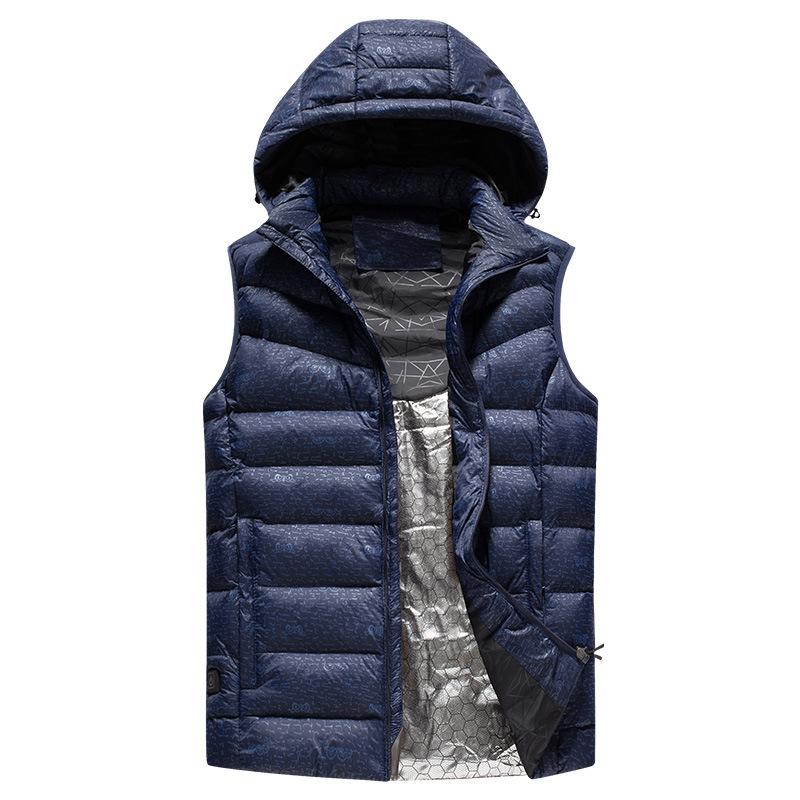 跨境专供2019冬季保暖连帽马甲男USB充电智能加热发热羽绒棉服