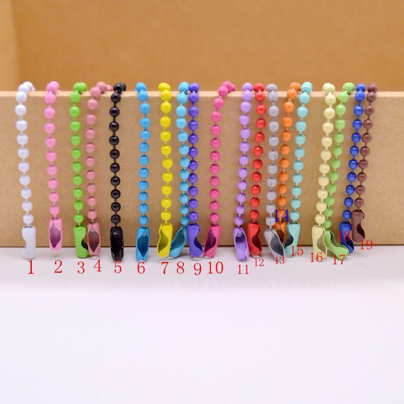 8198diy串珠材料饰品配件2.4mm金属链条彩色喷漆波珠链 吊牌链
