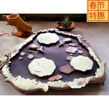 易水砚缘堂 厂家直销天然紫袍玉带石茶盘 端砚茶海 易水砚石茶台