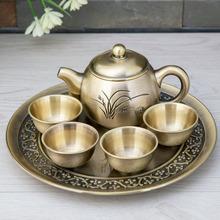 金属工艺兰花茶具6件套 创意茶具礼品套装 家居茶室会所装饰摆件
