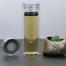 新款耐热双层玻璃杯高硼硅防烫便携透明玻璃水杯定制logo水杯印字