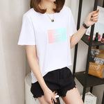 短袖t恤女2019新款白色韩版夏季女学生可爱bf风半袖宽松百搭上衣