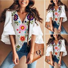 欧美外贸女装 2019夏季新款韩版大码喇叭袖印花T恤上衣女