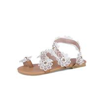 甜美蕾丝花朵淑女休闲鞋学生鞋平跟沙滩凉鞋亚马逊外贸鞋子L96