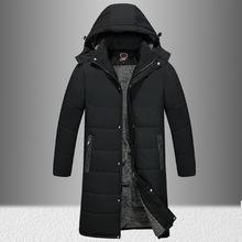 冬季男士运动休闲棉衣中老年户外长款带帽加绒加大棉服保暖棉袄