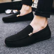 2020夏季布鞋豆豆鞋男士休閑鞋韓版潮流懶人一腳蹬帆布鞋百搭男鞋