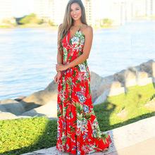 2019夏季新款吊带连衣裙亚马逊爆款女装无袖V领漏背沙滩长裙22020