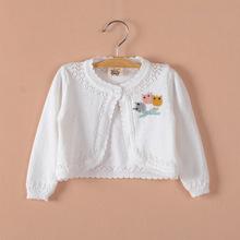 童装女童小披肩外套针织短款宝宝小外套长袖婴儿开?#26469;?#26825;线空调衫