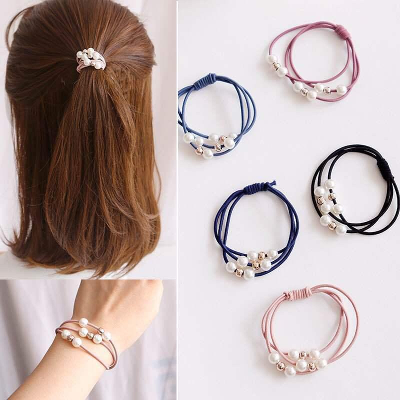 韩版新款简约珍珠发圈 少女时尚潮流珍珠高弹力扎头发马尾小皮筋