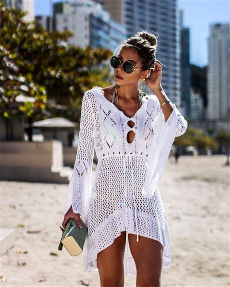 镂空针织喇叭袖沙滩罩衫度假比基尼外罩衫欧美爆款防晒衫泳衣