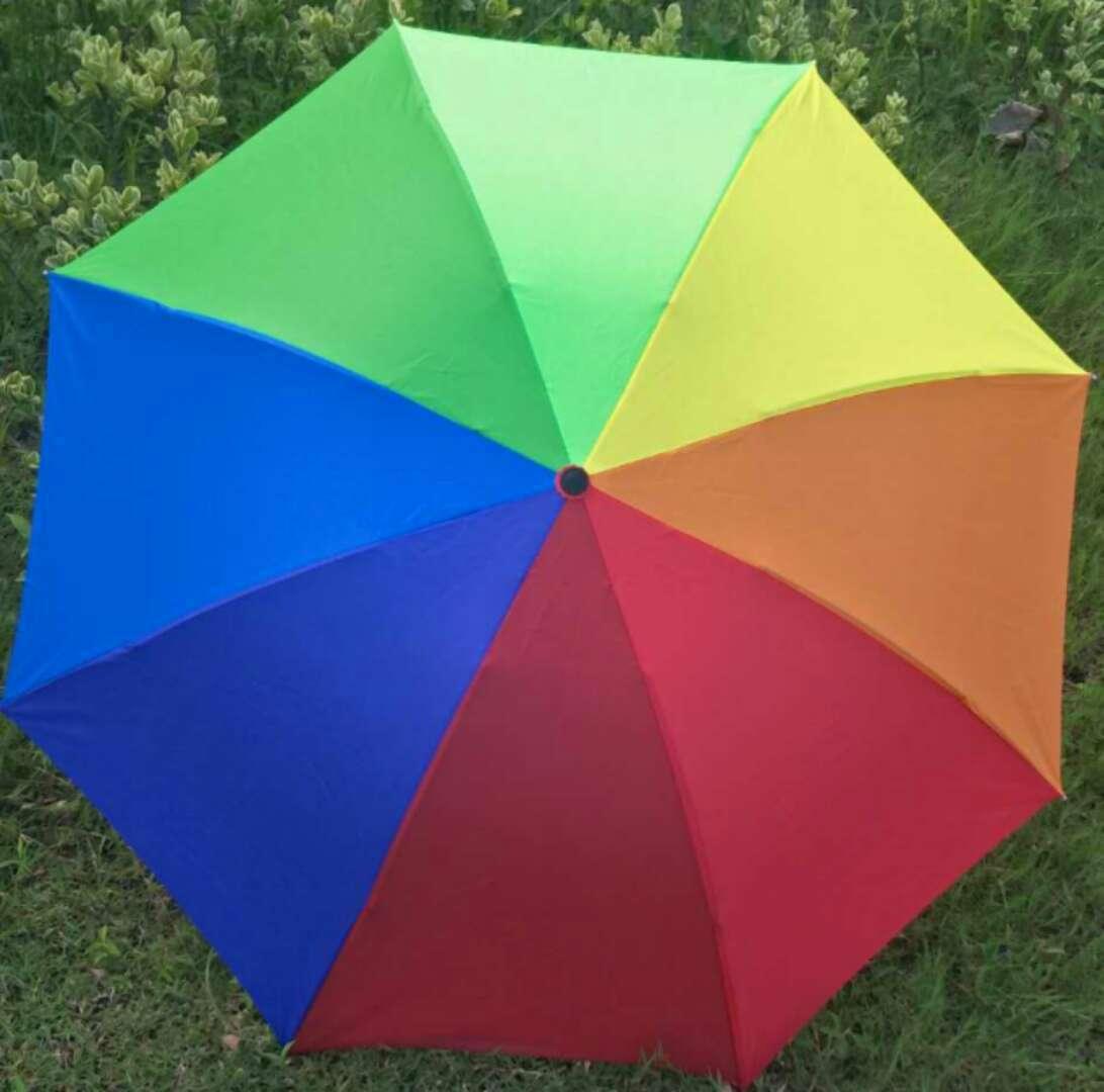 厂家现货批发定制8骨三折伞 遮阳伞 彩虹雨伞 保险logo广告伞