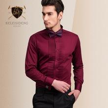 燕子领结礼服新郎衬衫男士长袖修身丝光棉婚庆法式衬衣