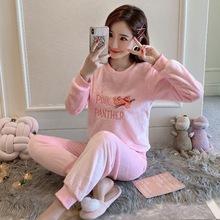 秋冬季珊瑚绒睡衣女长袖可爱卡通韩版加厚法兰绒家居服保暖套装
