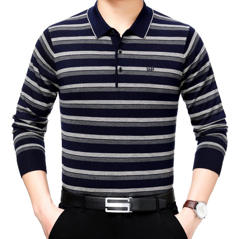 中年男装长袖t恤爸爸秋季新款男式翻领薄款条纹休闲体恤一件代发