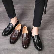 Large size leather shoes with fringe for men46 47