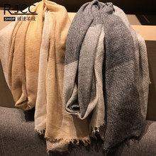 Rjcc绒捷羊毛围巾薄款舒适保暖休闲大方毛须欧美风羊绒围巾秋冬款