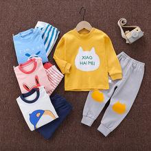厂家直销19新款儿童秋衣秋裤男童内衣套装纯棉韩版家居服一件代发