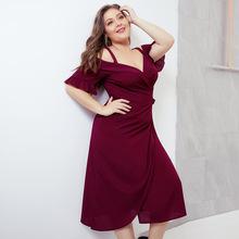 2019春跨境欧美新款性感交叉深V吊带短袖系带收腰大码女装连衣裙