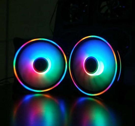 光芒RGB机箱风扇 12cm台式电脑散热风扇七彩变色极光日食AURA风扇