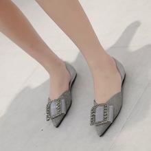 女鞋2019新款夏季韩版百搭亮片水钻尖头单鞋平底瓢鞋仙女温柔鞋子