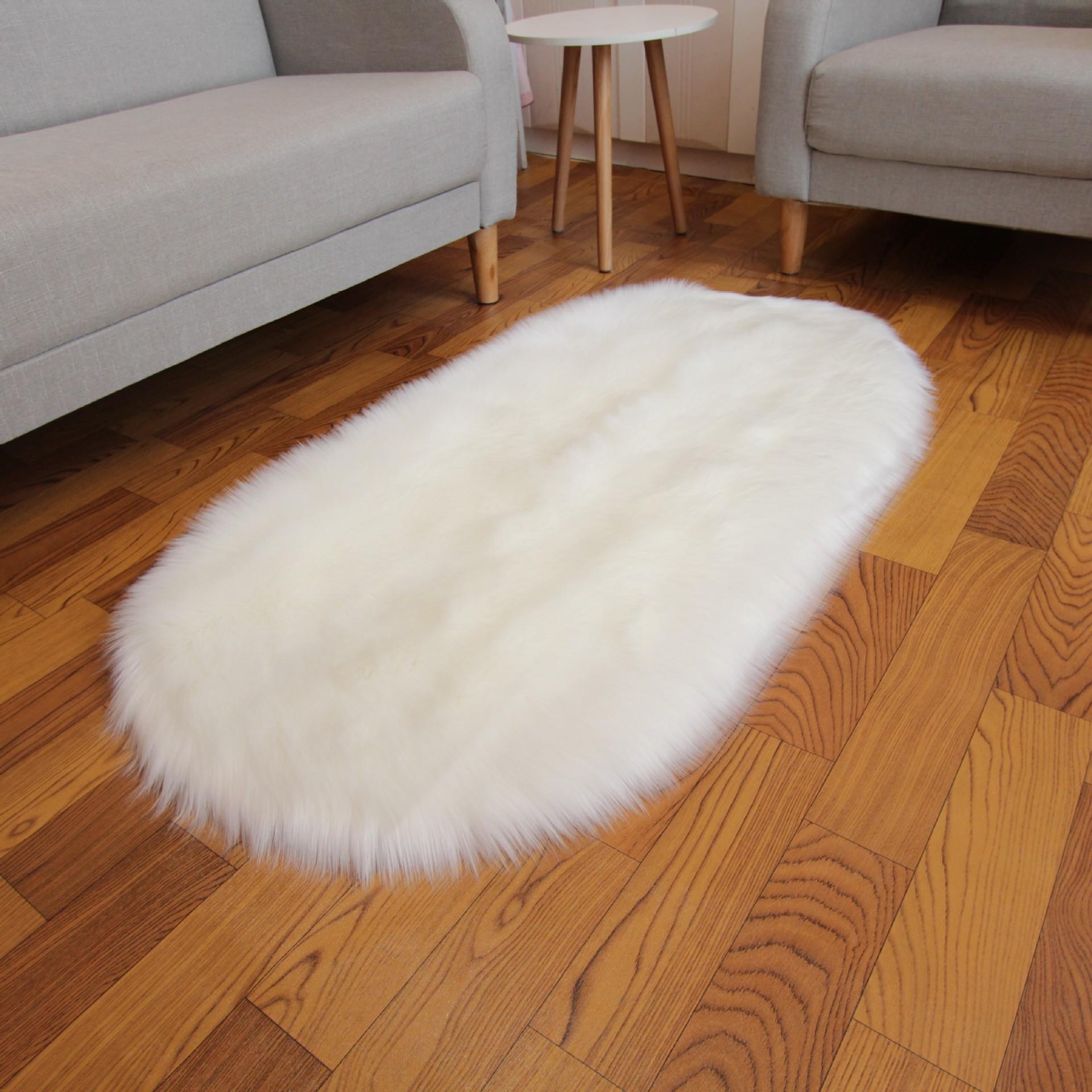 白仿羊毛地毯橢圓長毛絨地毯客廳臥室床邊毯飄窗墊可跨境代發pomp