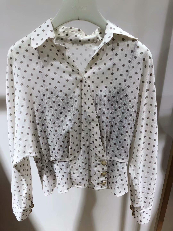 一件代发2019春新款韩版时尚甜美皱感波点上衣衬衫女A1JA9103A13