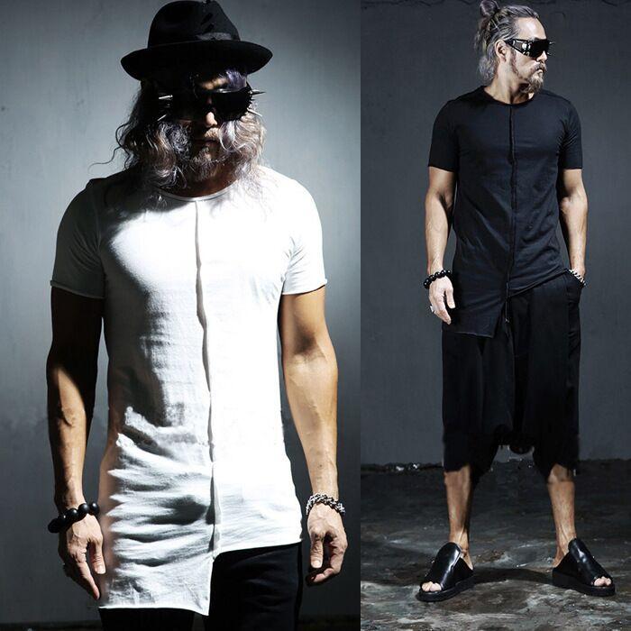 新款個性不規則設計男裝短袖T恤修身時尚美發店夜店潮款