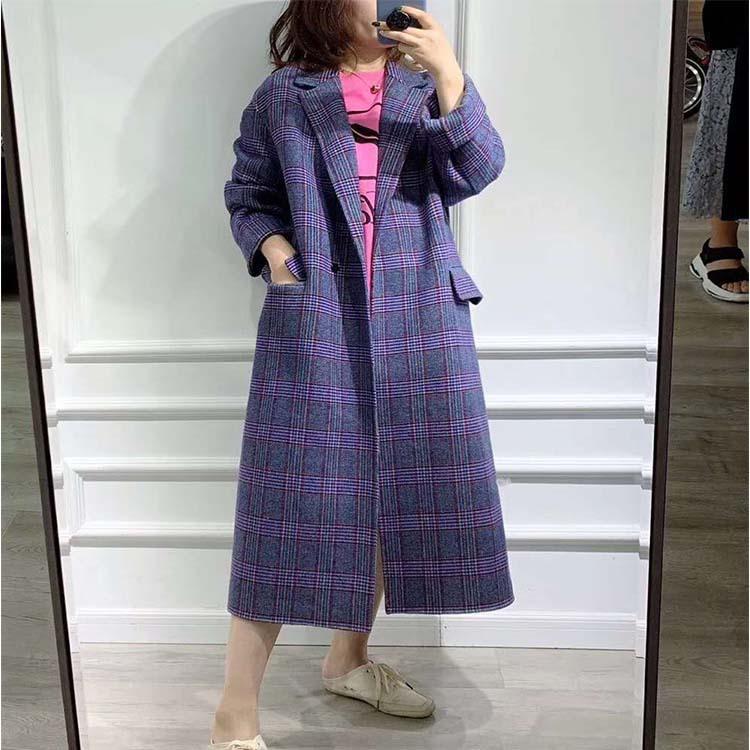 19秋冬款韩国原单明星同款格子中长款羊绒外套女双面毛呢大衣