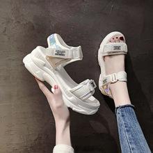 运动凉鞋女夏坡跟2019新款韩版学生百搭网红松糕厚底罗马鞋ins潮