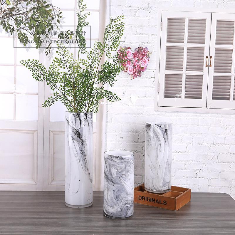 現代簡約花瓶擺件創意大理石紋客廳鮮花干花插花電視柜擺件批發