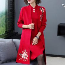 中老年女装旗袍毛衣两件套装2019新款中年妈妈秋冬外套针织连衣裙