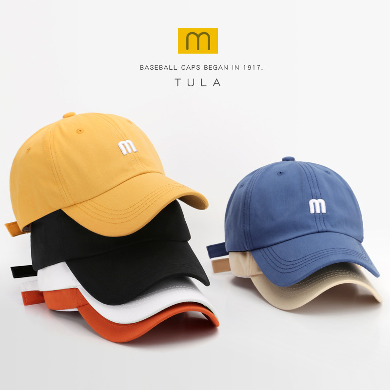 帽子 M字母刺繡鴨舌帽男百搭彎檐純棉軟頂遮陽帽時尚簡約女棒球帽