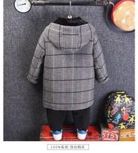 男童秋冬款呢子外套中長款兒童上衣加厚呢大衣夾棉男寶寶連帽格子