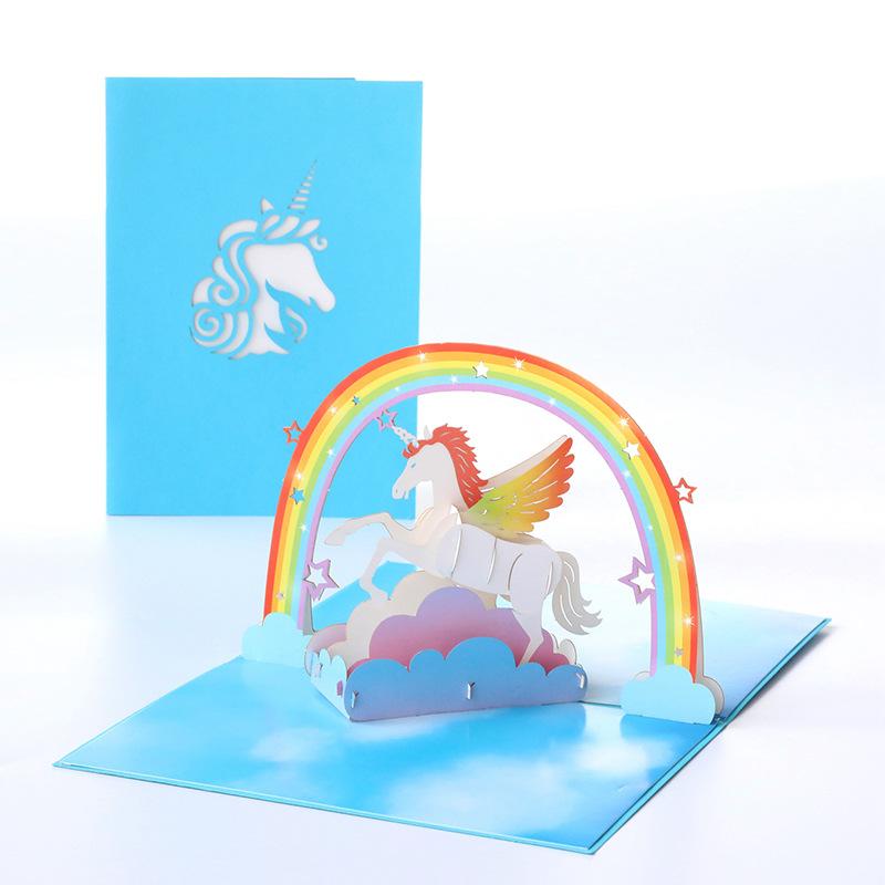 节日祝福贺卡韩国创意3D立体手工独角兽纸雕生日礼物小卡片定制-