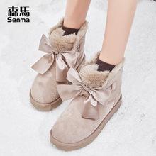 森馬雪地靴女2019新款時尚秋冬季加絨保暖加厚可愛一腳蹬短筒靴子