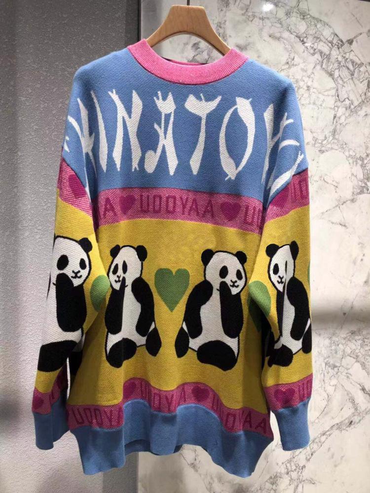 现货2019春装新款韩版熊猫图案宽松休闲圆领毛衣针织衫UY912M3034