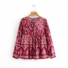 F8670-欧美女装批发2019夏季新款 度假风领口系带定位印花衬衫女