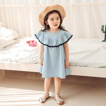 韩国童装夏季新款女童连衣裙荷叶肩拼接无袖连身裙纯棉可爱女童裙