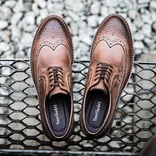 轻布洛克雕花男鞋商务英伦风正装拼接手工皮鞋真皮复古休闲男鞋