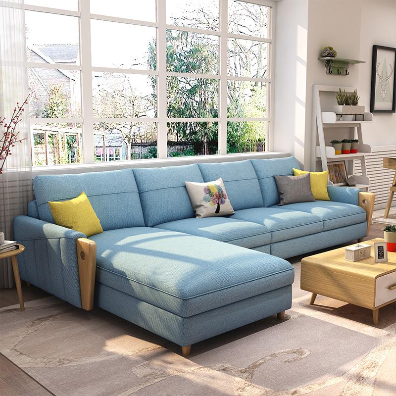 北欧布艺沙发组合小户型客厅整装经济型简约现代可拆洗转角三人位