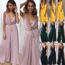 跨境欧美时尚女装新品亚马逊爆款2019夏季吊带纯色性感连体裤