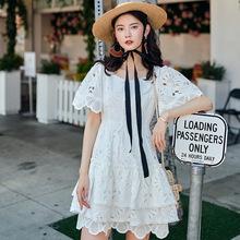 韩版淑女气质蕾丝绣花裙子夏季新款高腰显瘦短款连衣裙厂家直销