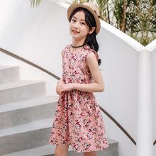 儿童连衣裙 新款棉麻女童裙子 夏款绵绸薄款 厂家直接