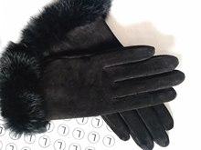 女式真皮手套黑色猪反绒绣花触屏真兔毛口保暖户外骑车手套