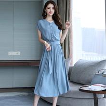 小清新時尚連衣裙 2019夏季新款韓版修身單排扣收腰顯瘦過膝A字裙