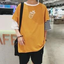 新款t恤男五?#20013;?#22799;季潮款男士宽松BF风体恤衫韩版圆领短8