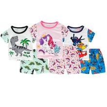 夏季薄款儿童家居服套装卡通?#20449;?#31461;纯棉短袖睡衣宝宝衣服一件代发
