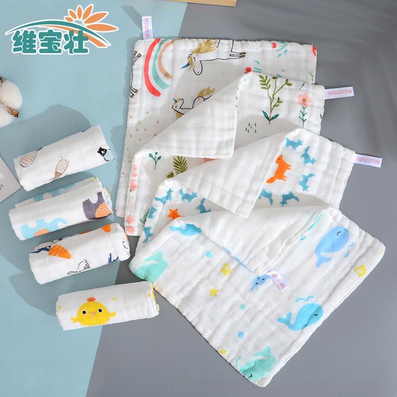 6层25X25CM 纱布宝宝毛巾 纯棉卡通洗脸巾儿童泡泡纱方巾 手帕-