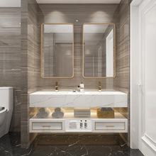 轻奢橡木浴室柜组合现代简约洗手盆柜北欧实木卫生间洗漱台面盆柜
