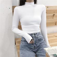 【实拍】秋冬长袖t恤女纯色修身半高领上衣紧身内搭打底衫潮